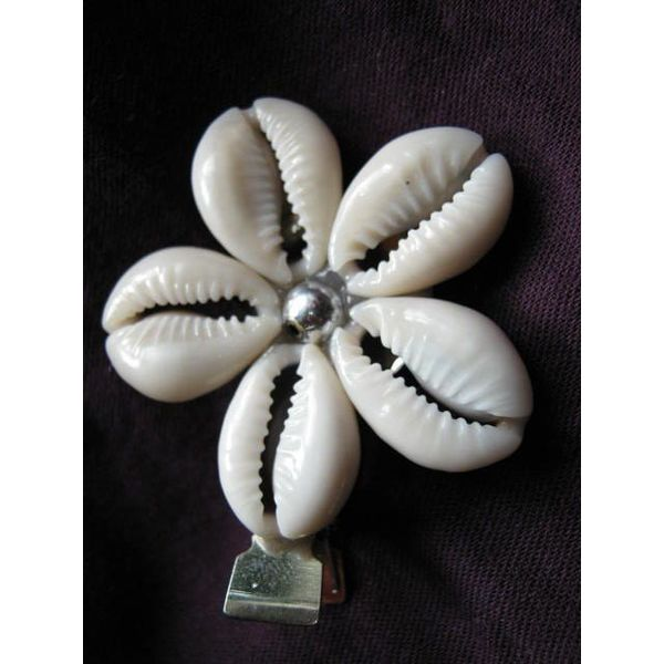 Cowry Hair Flowers, silver