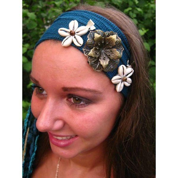 Cowry Hair Flowers, tiger eye