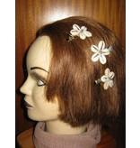 Cowry Hair Flowers, rose quartz beads