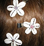 Cowry Hair Flowers, rhodonite beads