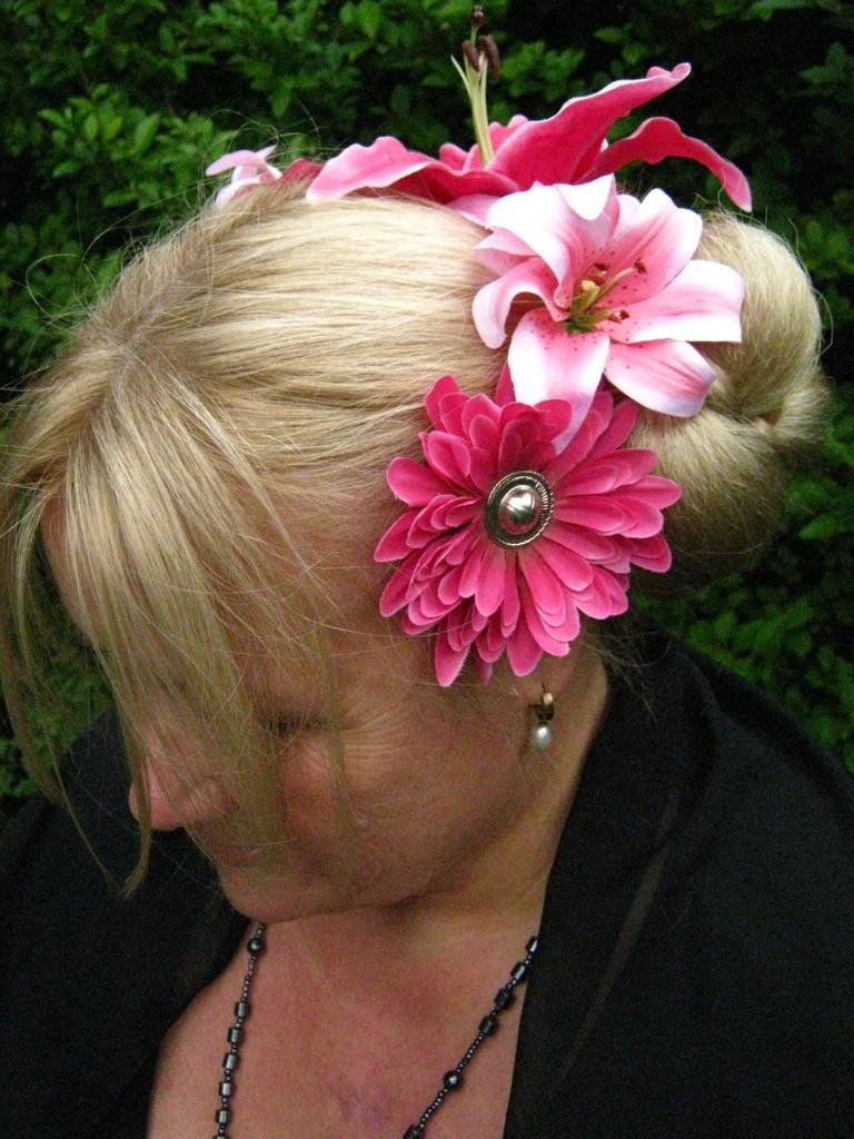 Pink Passion Hair Flowers Fusion Belly Dance Hair Jewelry Magic