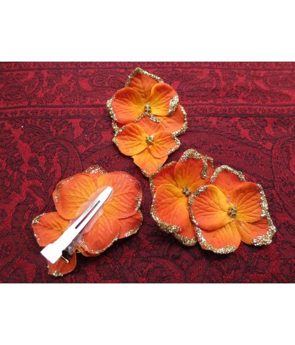 Bollywood Hair Flowers, Orange Gold