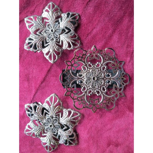 Boho Hair Flower Set, silver