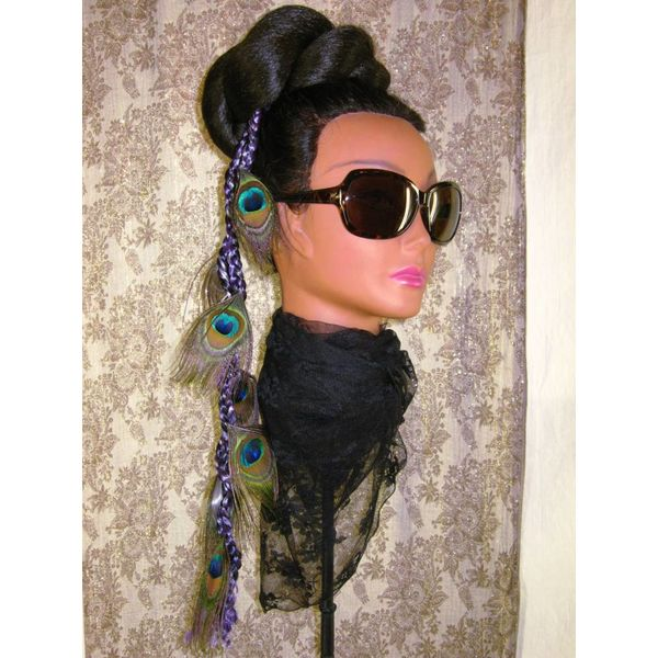 Purple-Black Peacock Extensions, 7 Feathers