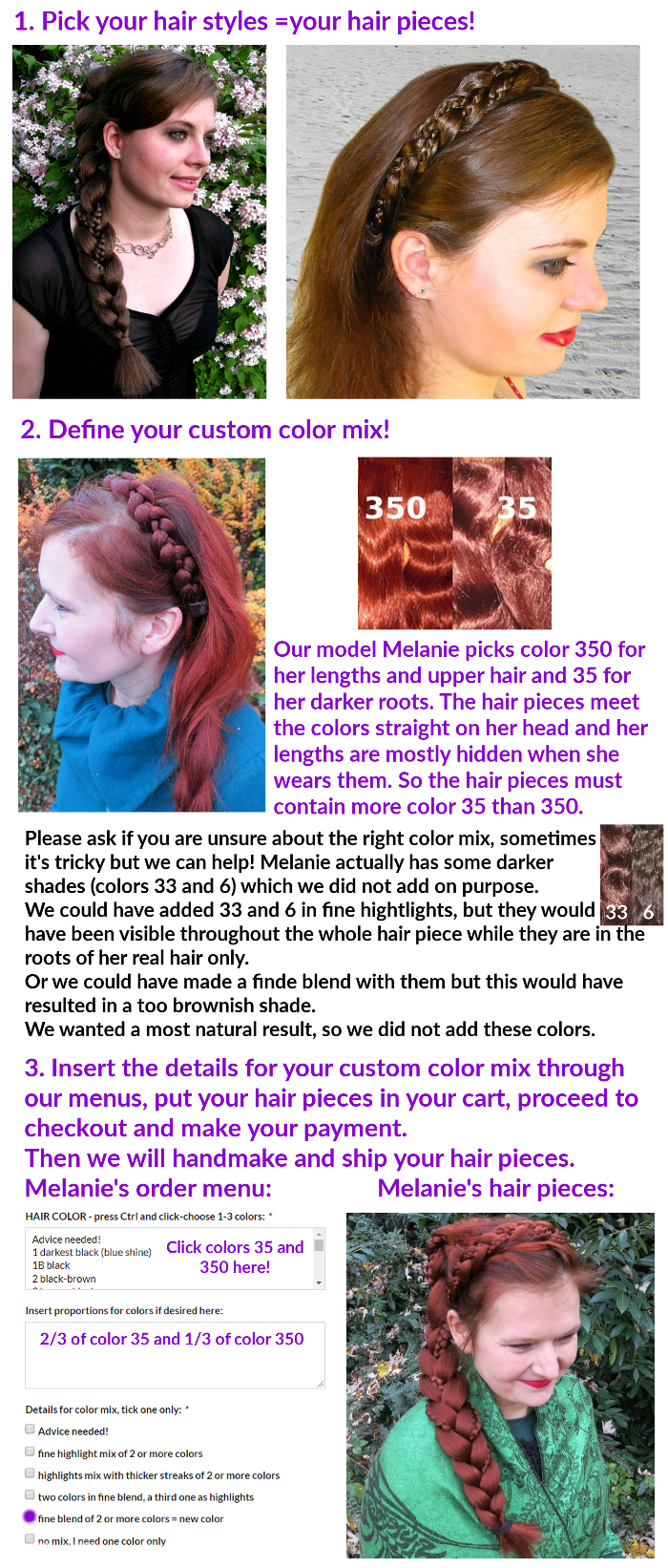 Quick instructions for ordering your hair piece in your hair color!