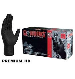 100 PK Ammex Heavy Duty Black Glove Large Powder Free