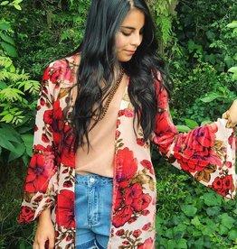 Velvet Bell Sleeved Kimono