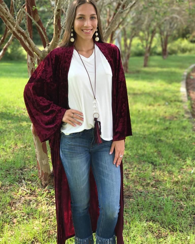 Burgundy Velvet Kimono