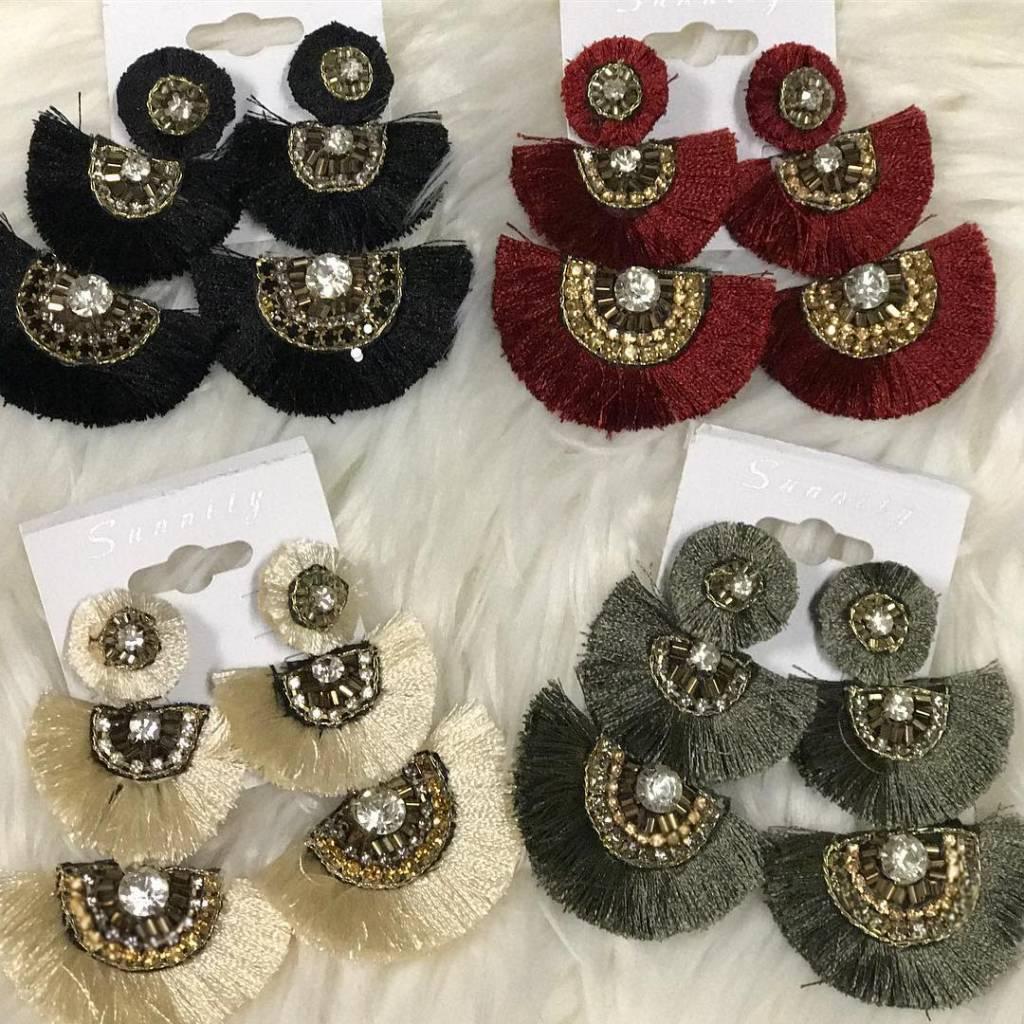 Jeweled Tassel Earrings
