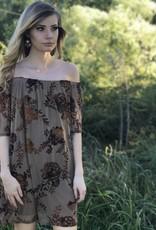 FLORAL PRINT VELVET OFF-THE-SHOULDER DRESS