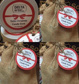 DELTA CHRISTMAS CANDLE SCENT WITH COTTON DRAWSTRING SAK