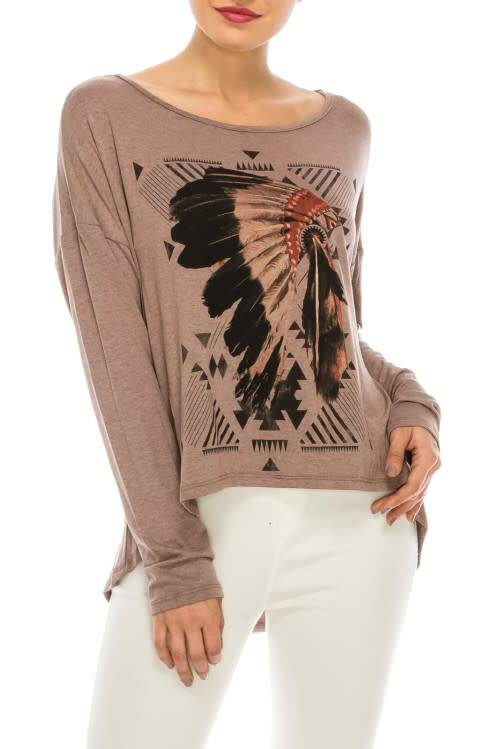 INDIAN GRAPHIC KNIT TOP