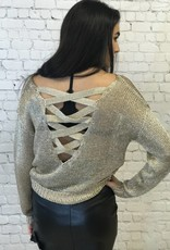 GOLD VISCOSE SWEATER WITH CRISS BACK