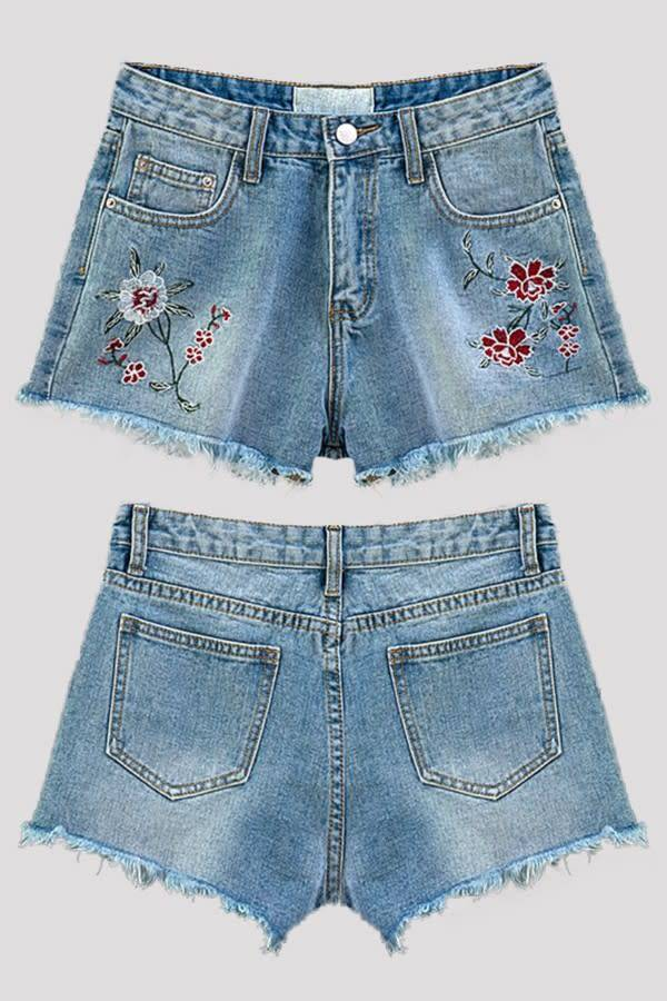 EMBROIDERY DISTRESSED DENIM SHORTS