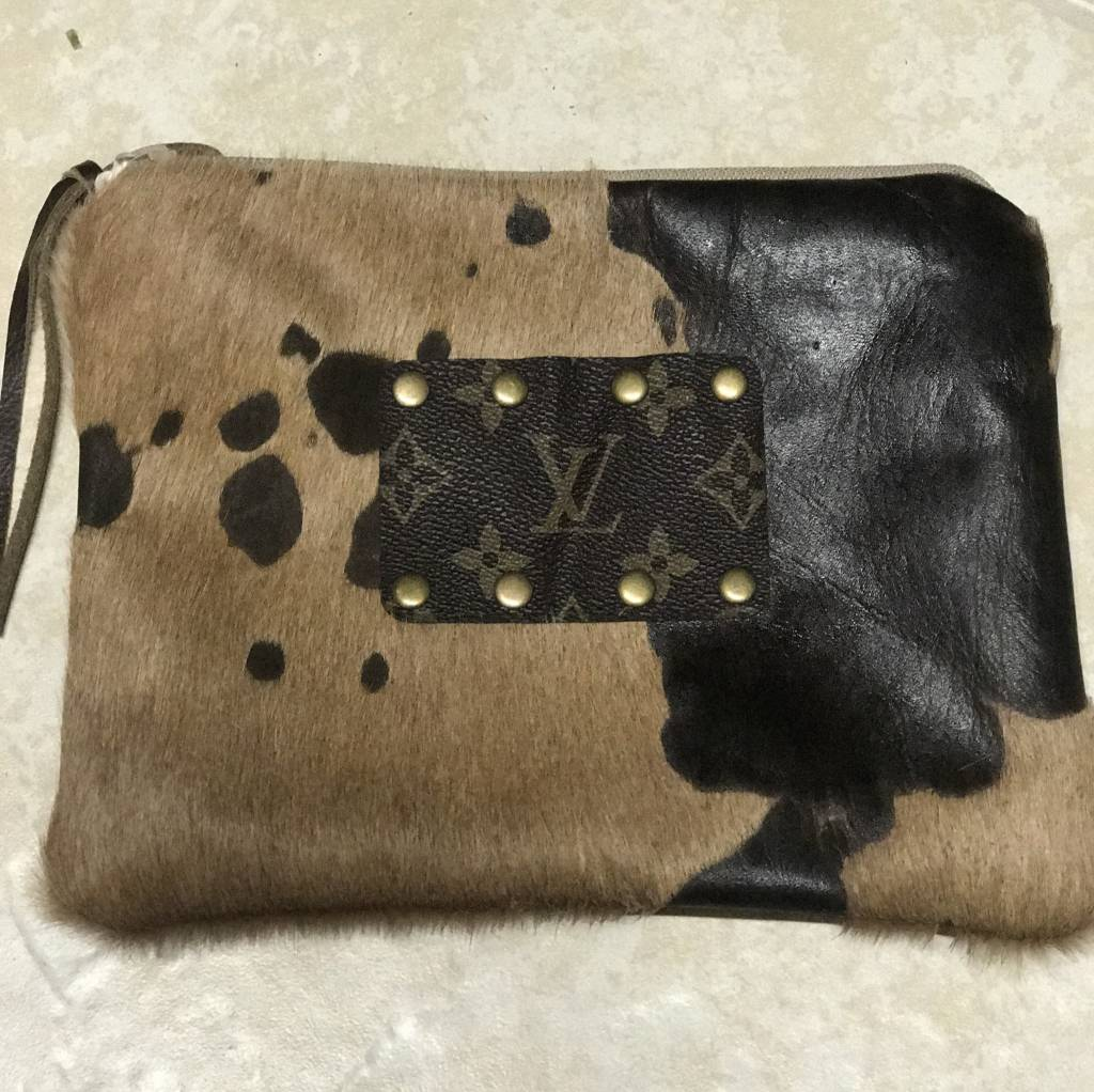 Cowhide Acid Wash Makeup Bag