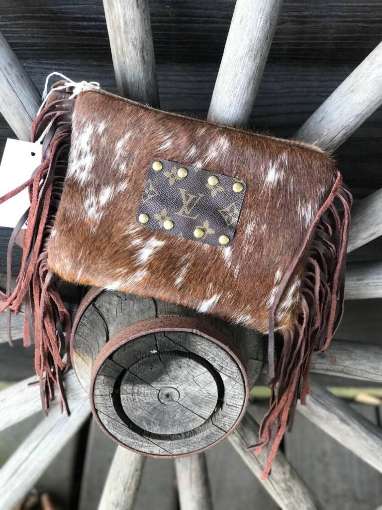 COWHIDE FRINGE MAKEUP BAG