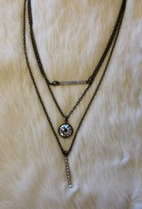 LAYERED BAR AND STONE NECKLACE
