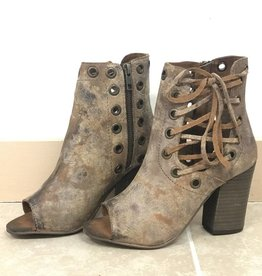 DISTRESSED LACE UP BOOTIE HEELS
