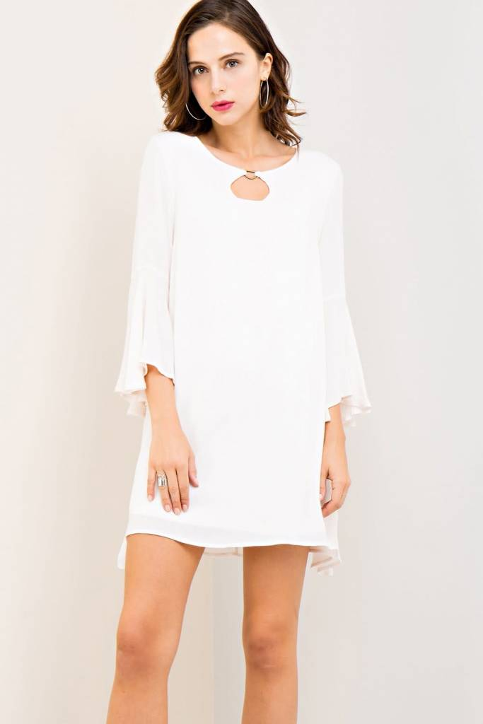 CRINKLED SCOOP NECK DRESS