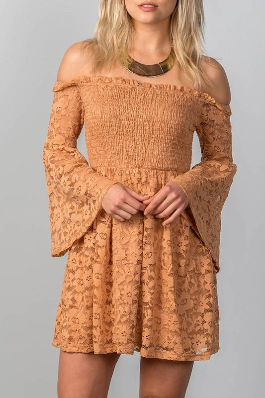 FLORAL LACE OFF THE SHOULDER DRESS
