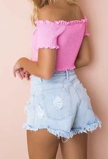 LACE UP SMOCK CROP