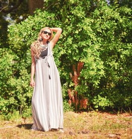 STRIPE DOUBLE VNECK MAXI DRESS
