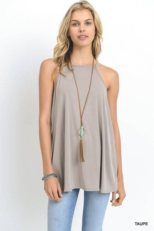 HALTER TOP WITH STRAPPED CRISS-CROSS BACK