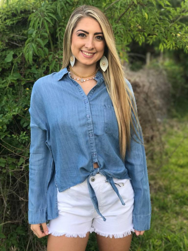FRONT TIE DENIM TOP