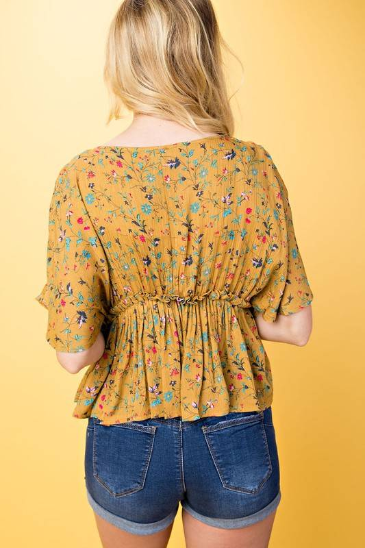 FLORAL RUFFLE SMOCK TOP