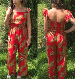 TROPICAL JUMPSUIT WITH RUFFLE SLEEVES