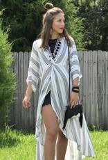STRIPPED HIGH LO TWIST DRESS