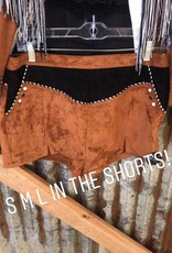 BROWN SUEDE SHORTS