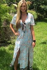 FLORAL/STRIPE MAXI DRESS
