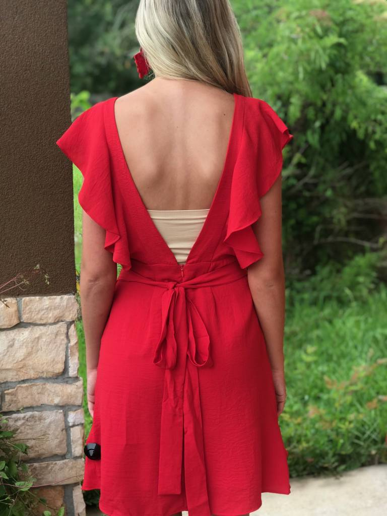 RUFFLE OPEN BACK MIDI DRESS