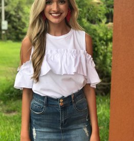 POPLIN RUFFLE CASUAL TOP WITH COLD SHOULDER