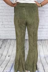 OLIVE VELVET PANTS