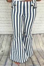 BLUE BUTTON STRIPED PANTS