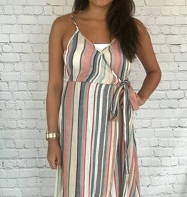SLEEVLESS LONG STRIPE DRESS