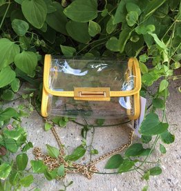 YELLOW TRIM CLEAR HANDBAG