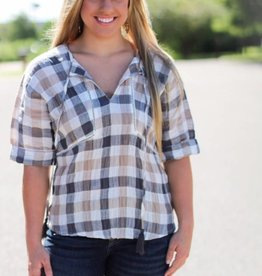 TASSEL-TIED PLAID BLOUSE