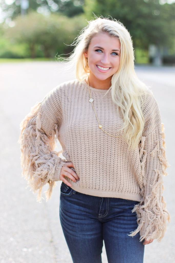 FRINGE SLEEVE CROP TOP SWEATER