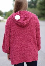 FUZZY HOODED PULLOVER