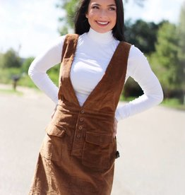 CORDUROY BUTTON OVERALL DRESS