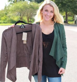 FAUX SUEDE DRAPED JACKET
