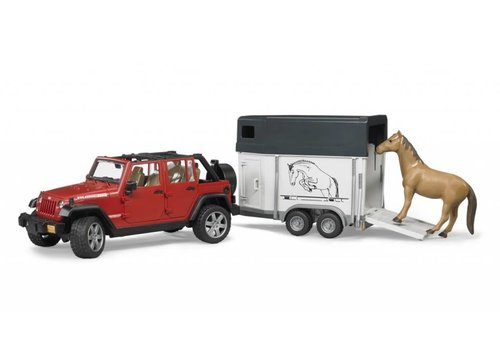 Bruder Jeep Wrangler Unlimited Rubicon w. Horse Trailer and horse
