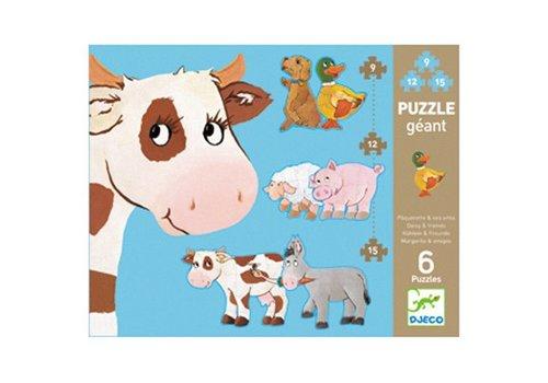 Djeco Puzzle géant / Paquerette et amis / 9,12,15 pcs
