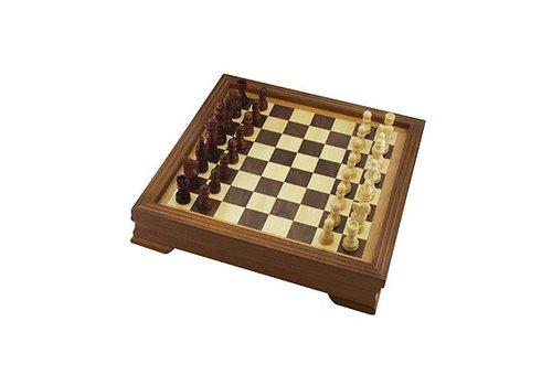 Jeu d'échec en bois avec rangement intérieur 29 cm*