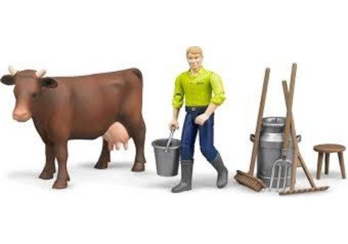 Bruder Figurine avec vache et accessoires
