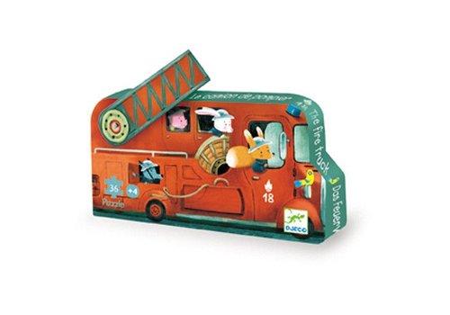 Djeco Puzzle silhouette / Le camion de pompier / 16 pcs