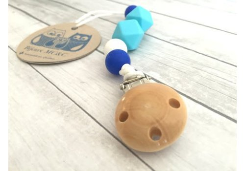 Bijoux MCC Attache-suce Chardonneret Bleu azur-Bleu ultramarine-Blanc